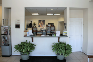 The front desk and check-in counter.